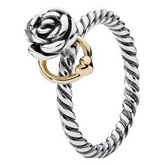 Pandora 14K & Silver Reminder Ring (190 BRL) ❤ liked on Polyvore featuring jewelry, rings, jewelry & watches, nocolor, silver jewelry, 14k jewelry, pandora jewellery, pandora rings and 14 karat gold ring #jewelrypandora