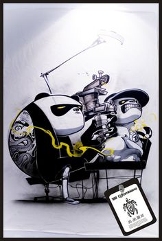Love the black-white-shading with just touch of yellow. Love the black-white-shading with just touch of yellow. Art And Illustration, Illustrations And Posters, Character Illustration, Graffiti Art, Graffiti Tattoo, Cartoon Kunst, Cartoon Art, Doodle Art, Dope Kunst