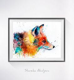 Fox 2 Aquarellzeichnung print, fox, Kunst, Kunst, Illustration, tierischen Aquarell, tierische Malerei, Tier Porträt, Fuchs-Abbildung,  Kaufen Sie zwei