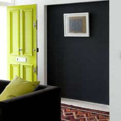 design is mine : isn't it lovely?: love love love the color swap interior inspiration : painted interior doors. Painted Interior Doors, Painted Front Doors, Interior Paint, Interior Design, Green Front Doors, Yellow Doors, Door Design, House Design, Halls
