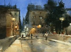 【吉羅納之夜 / One night in Girona 】26 x37 cm  watercolor Demo by Chien Chung Wei