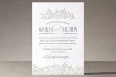 White Shadows Letterpress Wedding Invitations by Jessica Williams at minted.com
