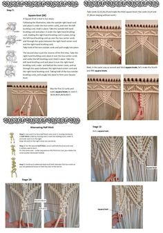 PDF pattern macramé curtain, size: W36 in x H98 in Material: cotton rope Quantity needed: 277 yards (253 m) of cord I offer a 2 PDF patterns, not the finished creation. SKILL LEVEL: Intermediate You need cotton cord ( 8mm thick ) and wooden rod to make the curtain. Pattern includes