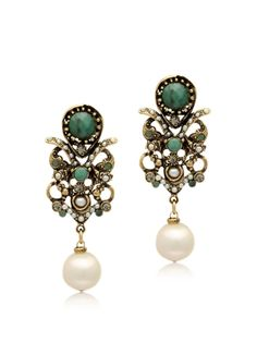 Alcozer & J Golden Brass, Glass Pearl and Emerald Earrings