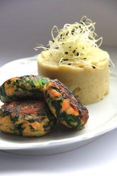 Salmon burger / Mangold-Lachs-Buletten mit Meerrettich