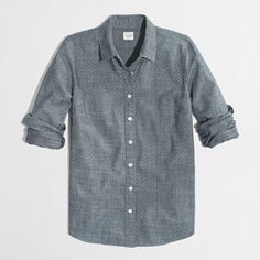 J. Crew Factory Button Down Shirt in Chambray J. Crew Factory Classic Button Down Shirt in Printed Chambray. So versatile! Missing 3rd button but an extra is included sewn to the inside as pictured. Wrinkly from storage. Size XL. J. Crew Tops