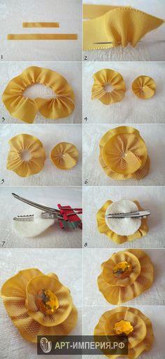 Цветок украшение из ткани своими руками, цветок на голову из ткани своими руками, цветок брошь из ткани своими руками (7)