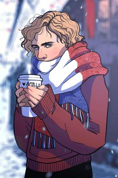 Modern Enjolras in Winter<<in which Enjy gives his name as Apollo because the coffee shop can never spell his name right...wonder what he's drinking?