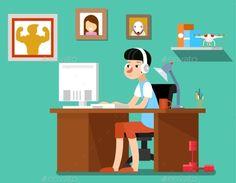 Freelancer At Work, Vector Illustration