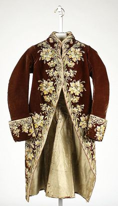 Coat  Date:     1775 Culture:     French Medium:     silk Dimensions:     Length at CF: 40 1/2 in. (102.9 cm) Length at CB: 38 in. (96.5 cm)... Accession Number: 51.47.2611