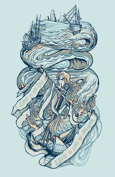 Life & Love at Sea Art Print #mermaid #ship #sea