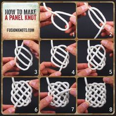 The Panel Knot - Step-by-Step (image) Instructions - Written instructions feat. in my book, Decorative Fusion Knots. Knots and Storage Paracord Tutorial, Paracord Knots, Rope Knots, Macrame Tutorial, Paracord Bracelets, Macrame Art, Macrame Knots, Micro Macrame, Macrame Jewelry