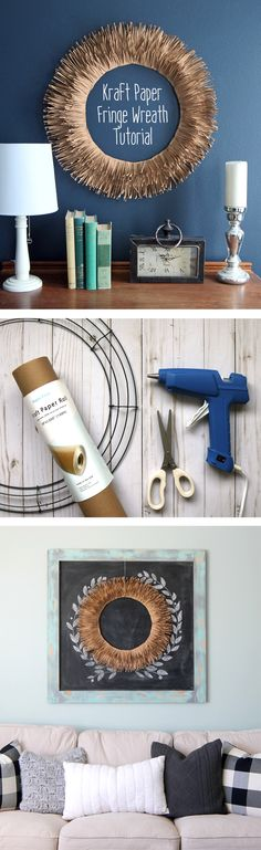 Learn how to make a DIY wreath out of kraft paper and a wire wreath form. A cheap and easy farmhouse style home decor craft project.