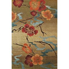Add contemporary flair to your decor with this hand-knotted wool rug. Its beautiful floral pattern with hues of gold, orange, blue, and red, makes this rug easy to match. It also has a high pile, making it comfortable to walk or stand on.