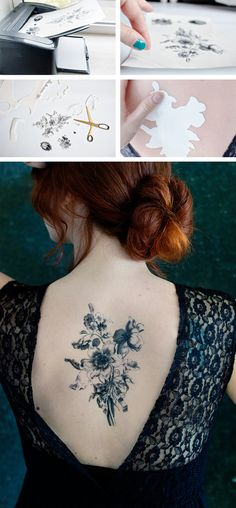Did you know that you can make your own temporary tattoos? DIY by Lana Red Studio, flower print downloaded for free from Rijksmuseum.nl