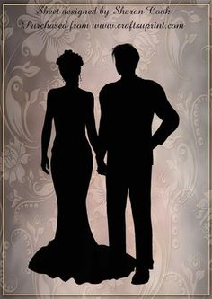 Pics For > Bride And Groom Silhouette Blue