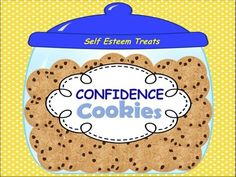 Give your students a self-esteem treat with these 90 confidence raising sprinkled cookies. Directions: Print and laminate all pages. (Optional print onto card stock for durability). Cut out cookies. Cut out cookie jars in the shape of a square to be glued onto the sides of an empty solid color tissue box.