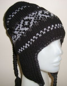 Wool Ear Flap Hat with flaps   BLACK GRAY   Knit Beanie 139855d219b