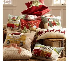 Woody Car Embroidered Lumbar Pillow Cover | Pottery Barn