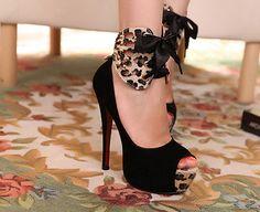 Peep Toe Bow Tie Embellished Stiletto High Heels Black Suede Basic Pumps