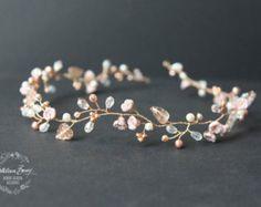 Rose Gold Copper Bridal Hair Wreath Headband Crown Handmade by KathleenBarryJewelry | Etsy