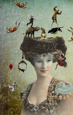 The Hat, a collage, by Kathy Grieb Kennedy, aka room17 on flickr
