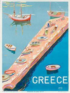 DP Vintage Posters - Original Greek Travel Poster Agean Island Jetty