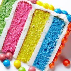 Catch the rainbow! An easy (really, it is) Rainbow Layer Cake recipe. #BiteMeMore