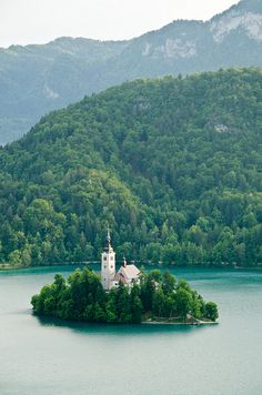 An island! Now THAT'S a good idea! Nice little dwelling . . . yeah!  Bled island, Slovenia