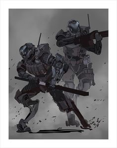 Concept Art, Reminds me of a mix between the sentries on Titanfall and the armor from HALO: REACH