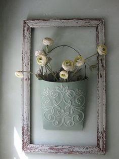 DIY Shabby Chic Decorating Framed Flower Bucket #shabbychiccraftsdecorating