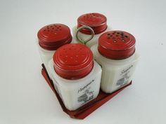 Vintage 1930s Salt Pepper Sugar Shaker Set White Milk Glass Silhouette Antique