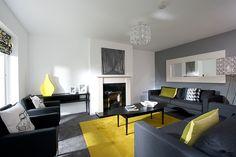 grey & yellow, light gray walls needs teal