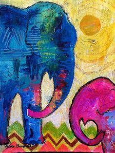 Elephant Art Original Painting by Caren Goodrich by caren on Etsy