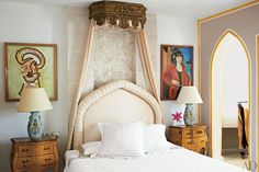 At his home in Ibiza, Olivier Mourao set a headboard and an Spanish canopy against a mosaic of broken marble in his master bedroom. Next Bedroom, Master Bedroom Interior, Dream Bedroom, Bedroom Decor, Bedroom Ideas, Design Bedroom, Master Bedrooms, Bedroom Colors, Exotic Bedrooms