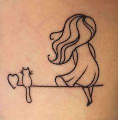 A girl and her cat - tattoo, cat tattoo, a girl and . - A girl and her cat – tattoo, cat tattoo, a girl and her cat – - Mini Tattoos, Cute Tattoos, Leg Tattoos, Body Art Tattoos, Cat Paw Tattoos, Woman Tattoos, Friend Tattoos, Flower Tattoos, She And Her Cat