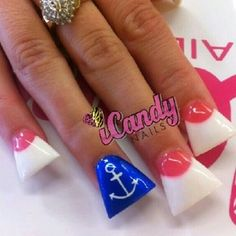 Duck feet nails #dark pink #pink and white #anchor #sailor #french