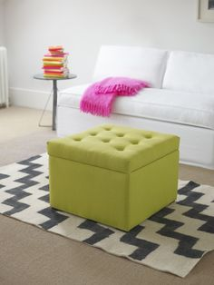 the sofa small Gabriel ottoman footstool in designer fabric. Neat, compact, and a button-topped lid that make for a stylish center-piece! - Starts at $310