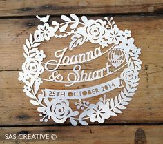 Downloadable Wedding Day / First Anniversary Celebration Gift Papercut Template by Samantha's Papercuts