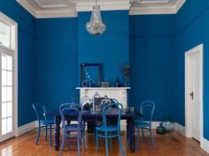 Bold Blue Interior Paint Color For Dining Room, interior paint color schemes, interior paints ~ Home Design Dining Room Paint Colors, Dining Room Blue, Interior Paint Colors, Gray Interior, Living Room Paint, Interior Painting, Paint Colours, Contemporary Interior, Wall Colors