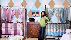 Brooke Burke's twin's nursery is simple yet beautiful. I love how she has given each crib a gender with the color of the bedding and sheets. I'd love to be a baby in one of those cribs.