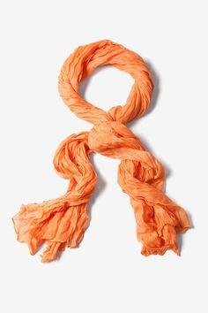 Orange Polyester Morgan Solid Scarf