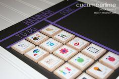 Chore Chart---Mix-n-match Board Black by cucumberlime on Etsy One Black Chart 12 Mix-n-match tiles $27.50