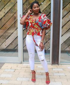 20 Lovely Ankara Tops And Jean Outfit You Can Wear On Friday - Ankara collections brings the latest high street fashion online Ankara Tops Blouses, Ankara Peplum Tops, Ankara Blouse, African Blouses, African Tops, African Wear, African Attire, African Women, African Style