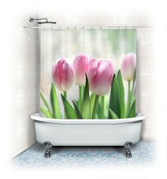 Tulip Fabric Shower Curtain Pink Tulips white by VintageChicImages, $64.99