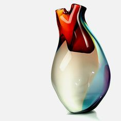 Ventricle Vessel  Anatomically inspired heart-shaped glass vase created by Eva Milinkovic of Tsunami Glassworks.
