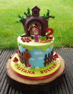 Masha and the Bear by TortenbySemra Ocean Birthday Cakes, 2 Birthday Cake, Bear Birthday, Minnie Mouse 1st Birthday, Baby Girl First Birthday, Masha Et Mishka, Masha Cake, Marsha And The Bear, Bear Cupcakes