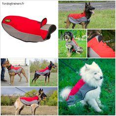 Manteau pour #chien «#Cape imperméable» en nylon rouge et gris avec une bordure réfléchissante, fermeture en velcro et ouverture pour laisse -> 34,70 € @fordogtrainersf Pensez à mentionner «J'aime» si ce produit vous plaît.