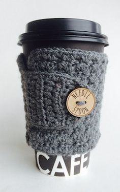 Wool grey tea cozy with button