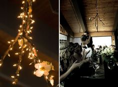 Here are some DIY Chandeliers (or 'Brancheliers' if you will) that I made for my wedding. I made twenty of them which really lit up the room with a lot of sparkle.... and they were so cheap to make!